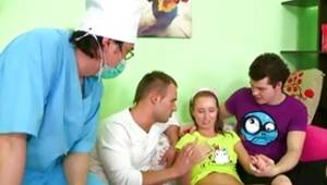 Hotie lass getting her virginity taken away as this doctor is staring