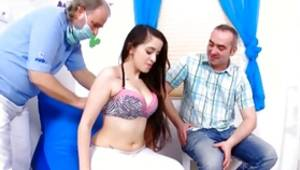 One dark-haired hottie is getting ashamed by those two dirty chaps coarse