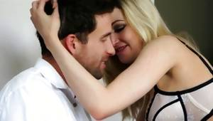 Adorable and nice light-haired is licking a lovable sugar-plum of her male crude