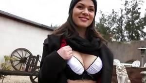 Brunette slut exposing her slip outdoor