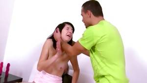 Bitchy gf gets face drilled and doggystyled in 2 males 1 female