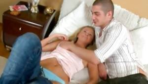 Fancy delinquent is getting cum-hole pressed and bra buddies grabbed on hard