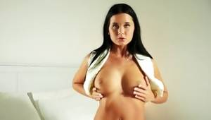 Exceptional moll with dark-skinned hair is dreaming of harsher masturbation