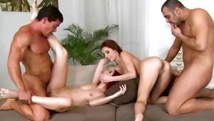 Fascinating foursome with happy bitches